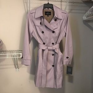 Purple trench coat with removable rain hood, Large